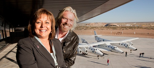 Richard Branson y la Gobernadora de Nuevo Mexico inauguracion Gateway to Space